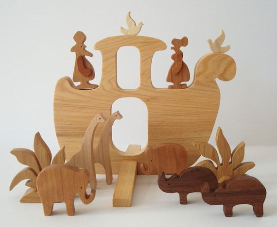 CUSTOM ORDER for torzlaver: Wooden Toy Noah's Ark Waldorf Miniature with Four Pairs of Animals