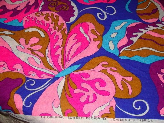 Vintage 1960s Super Hot Pink Huge butterflies Psychadelic Hippie Lowenstein Screenprint Hippie Flower Power Retro Fabric Yardage 44 x 22