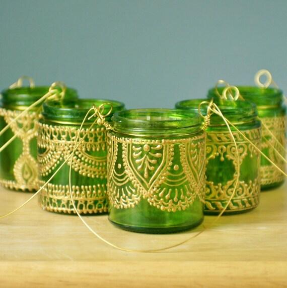Подвесной подсвечник Вдохновленный Фонари Марокко, Lime Green Тонированные стекла с золотой Акценты