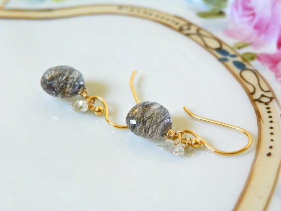 Black and White Diamond Earrings with Gold and AAA Rutilated Quartz
