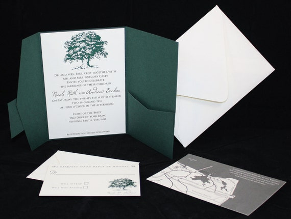 Oak Tree Custom Pocketfold Wedding Invitation - Printed Sample