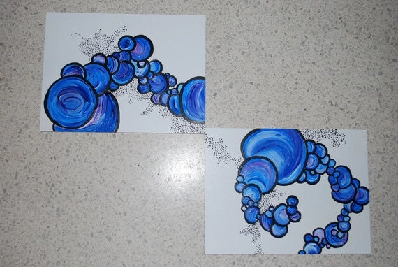 Shades of Blue Diptych in Circles and Pointillism OOAK- Etsy Treasury