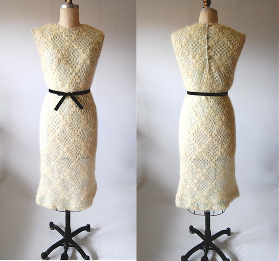 Vintage 60's crochet dress mohair cream pale aqua shift Spring Easter S M small / medium