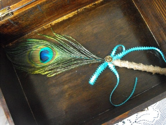 Stylish Burlap Peacock Feather Wedding Pen for your Guestbook Rustic