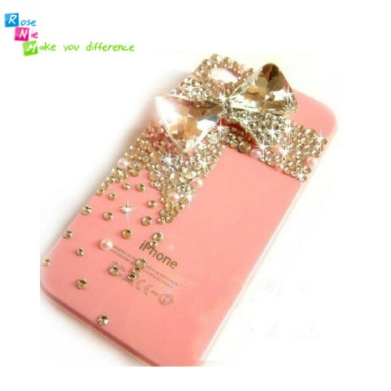 iPhone 4 case, iPhone 4s case, case for iPhone 4 mobile case handmade: Bling crystal bow (custom are welcome)