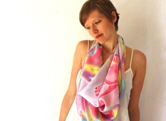 Silk Scarf. Unicorns 2 Spring Fashion - hand painted