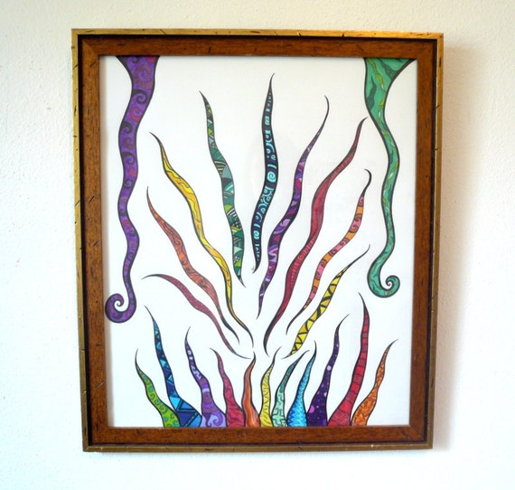"Colorful original pen and ink drawing, rainbow colors. frame included ""Spectrum"""