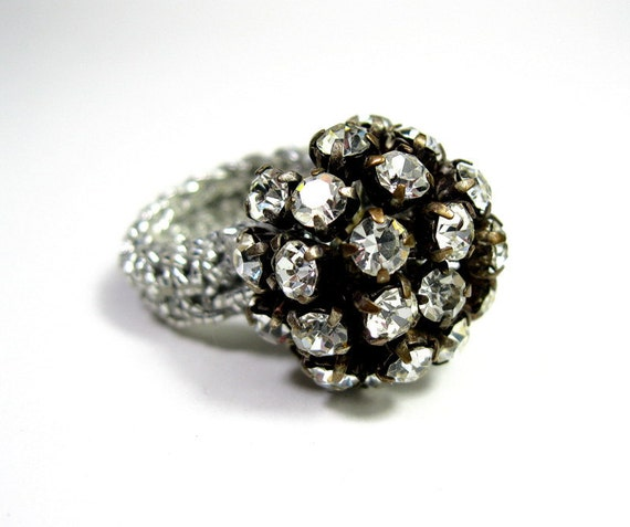 Vintage, 1960s, Mad Men Style, Rhinestone, Cocktail Ring