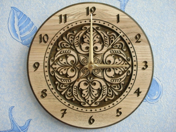 "Wood carved wall clock ""Tulips"""