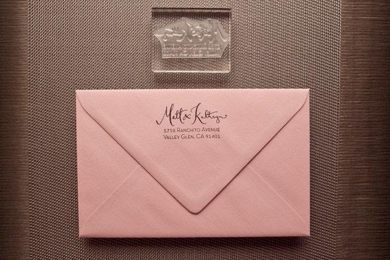 Calligraphy Address Stamp with Type- Acrylic