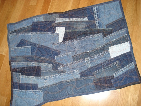 recycled denim patchwork quilted floor rug or wall hanging