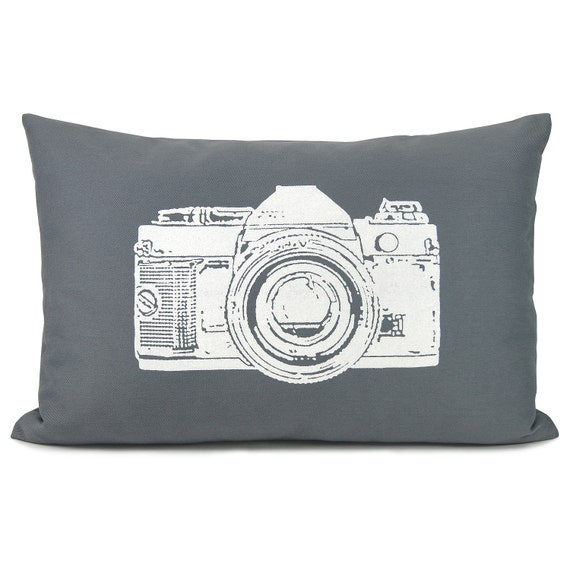 Gray and white decorative pillow cover - White vintage camera print on grey cotton fabric throw pillow case - 12x18 lumbar pillow cover