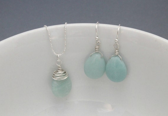 Wire Wrapped Amazonite Necklace and Earrings Set Sterling Silver