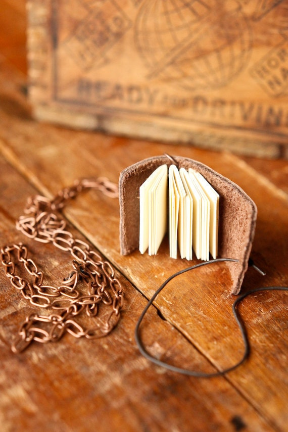 Mini Leather Journal Necklace with Skeleton Key - Mini Book Pendant