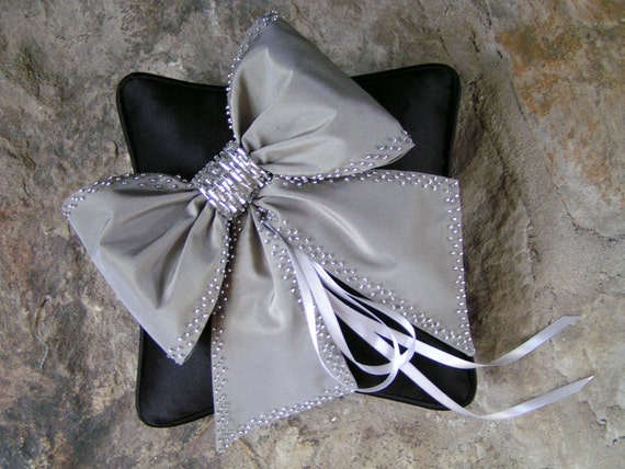 black and gray wedding pillow big bow pillow silver beadsblackweddings