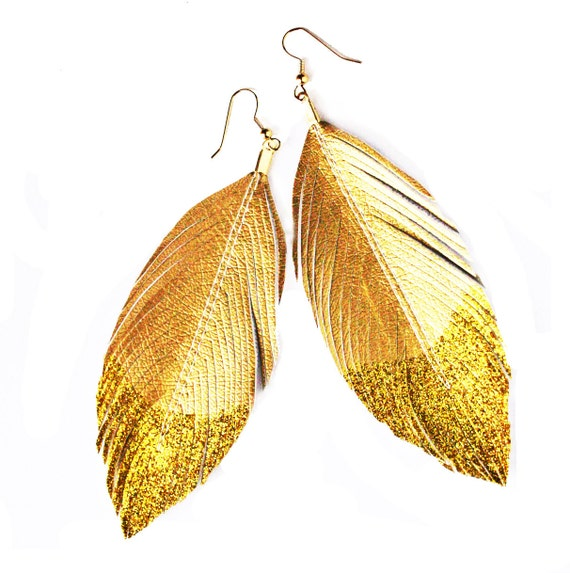 Glitter Gold Dipped - Faux Leather Feather Earrings - Surgical Steel Available - FREE SHIP