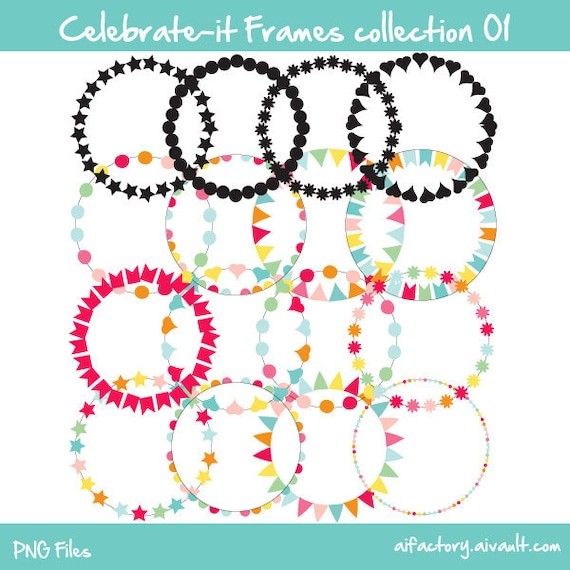 Circle frames celebrate-it collection 01 -  Commercial use and personal use clipart - confetti colors