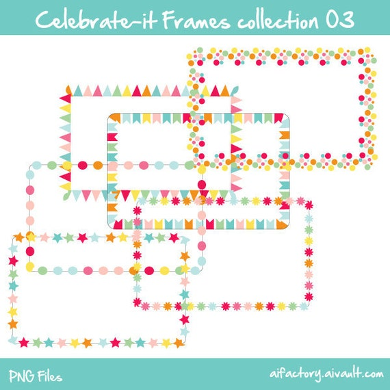 rectangle border frames celebrate-it collection 03 -  Commercial use and personal use clipart - confetti colors