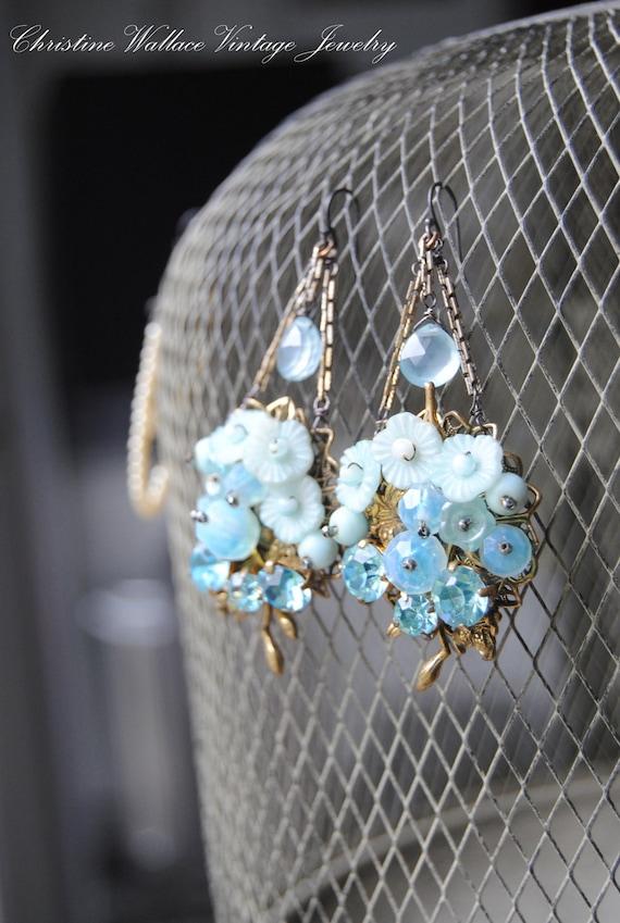 Стеклянные цветы Drops - Vintage Сборка Хэтти Карнеги Стеклянные цветы Gemstone бриолет СЕРЬГИ