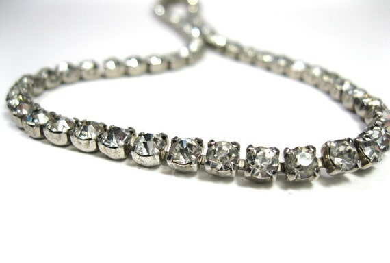Vintage, Mad Men, Style, Rhinestone, Choker, Necklace