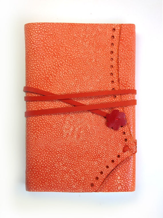 Chic Peach Leather Handbound Journal with Blank Paper