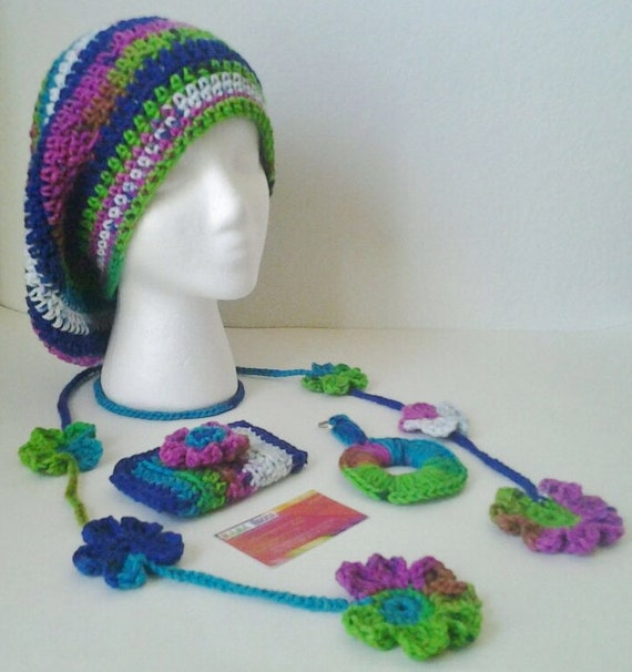 Crocheted Set-Slouchy Beret/Hat,Summer Scarf,Business Card Holder,& Key Chain Set-Rainbow/Tie Dye -Teen/Adult Size Large - mamabecca73- Etsy