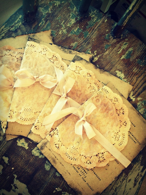 Wedding Invitation Handmade Hand stamped Shabby Chic Country Chic doilies doily