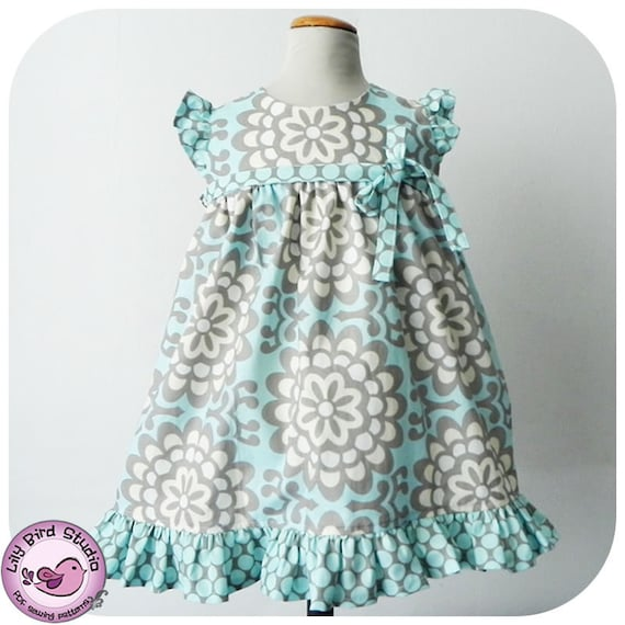 Birthday Party Dress - 12 mths to 8 yrs - PDF Pattern and Instructions - wide ruffled skirt, high waist