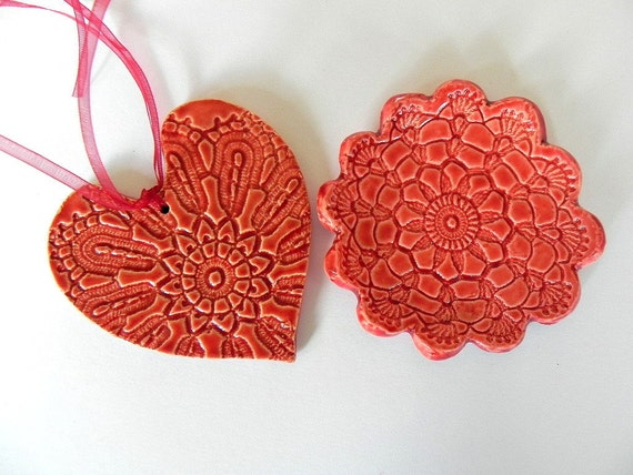 Ceramic Set, Red Flower Plate and Red Heart Ornament with Organza Ribbon