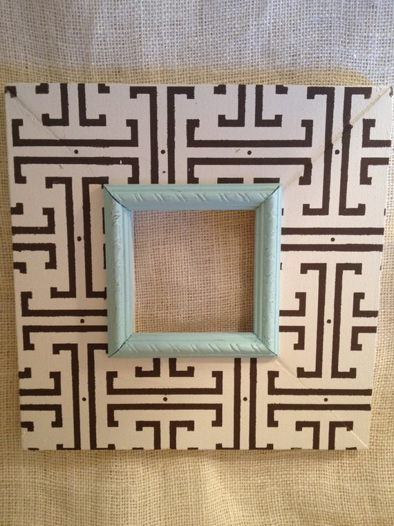 Moroccan distressed painted wood picture frame wedding gift in cream, chocolate brown, pale aqua trim