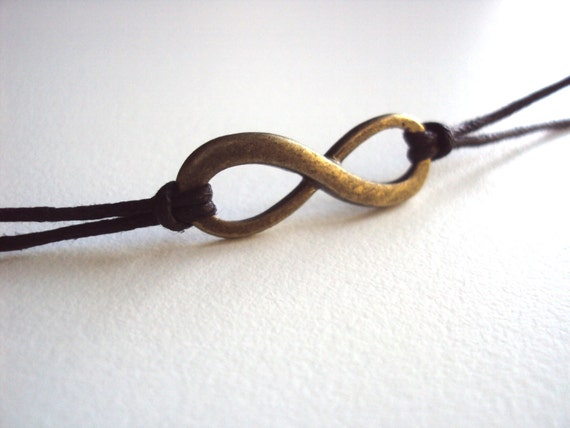 Sale Bronze Infinity Bracelet On Waxed Cord