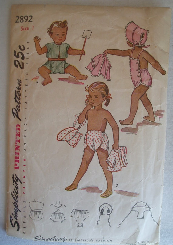 Adorable vintage 50's 60's Simplicity Pattern 2892 Infant Toddler Child Playsuit Bonnet Shorts Size 1