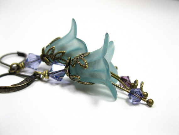 Purple and Teal Vintage Style Floral Earrings