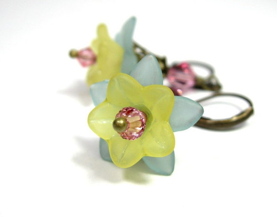 Pink, Yellow, Blue, Vintage Style, Flower Earrings