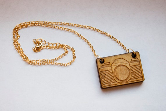 laser-cut camera necklace
