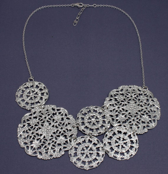 Statement Necklace, Silver Filigree Metal Necklace, Bright Silver Lace Necklace, Metal Bib Style Necklace