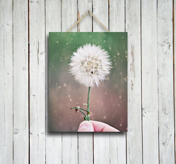 Token of Affection - 11x14 in. Romantic print - Dandelion print -Green decor - Green home decor - Shabby chic - Love decor.