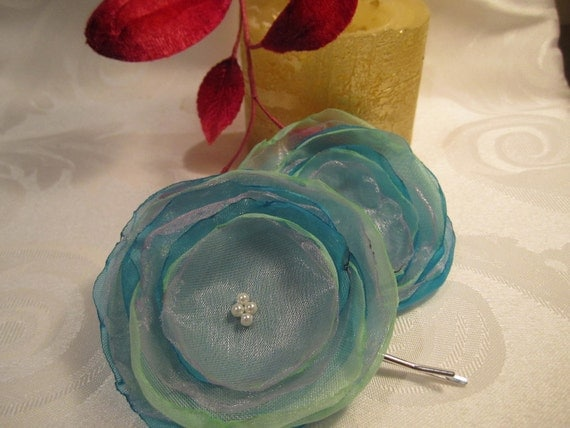 Lilac, light blue and mint organza flower hair cips