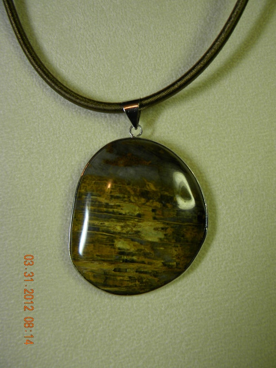 Tigers Eye Pendant and Silk Cord