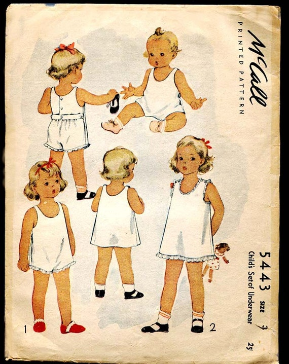 Vintage McCall Child's Set of  Underwear Pattern 5443--Slip and Onesie-Size 3--from 1943--Rare