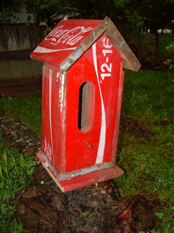 Repurposed Recycled Vintage Coca Cola Crate Birdhouse OOAK