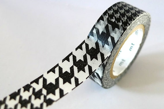 Black and White Houndstooth Washi Tape 15mm Japanese MT Masking Tape Single - PrettyTape