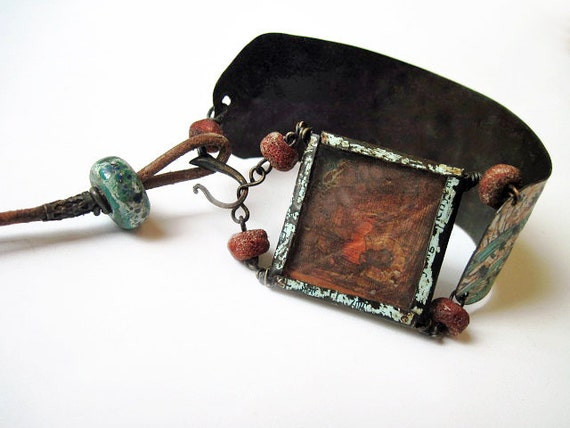 Manus Dei. Victorian Gypsy Recycled Rustic Tin Cuff Leather Stamp.