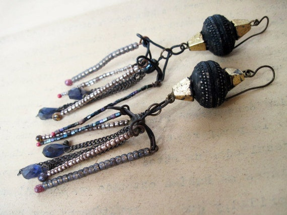 This World Which Is Made of Our Love for Emptiness.  Dark Rustic Gypsy Beaded Dangles.