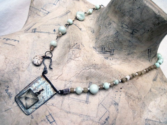 Angels of Torment. Rustic Gypsy Necklace with Tin and Gemstone Pyramid.