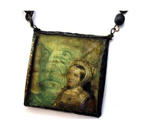 The Fearless Kiss Kidnapper. Rustic Gypsy Collage Necklace.