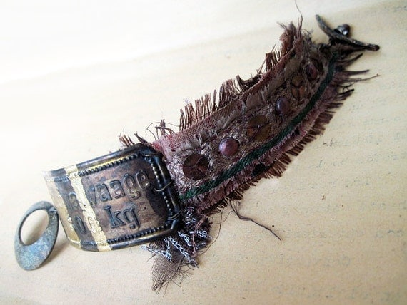 From Your Heart's Haven. Victorian Gypsy Rustic Tin Cuff Leather Lampwork.
