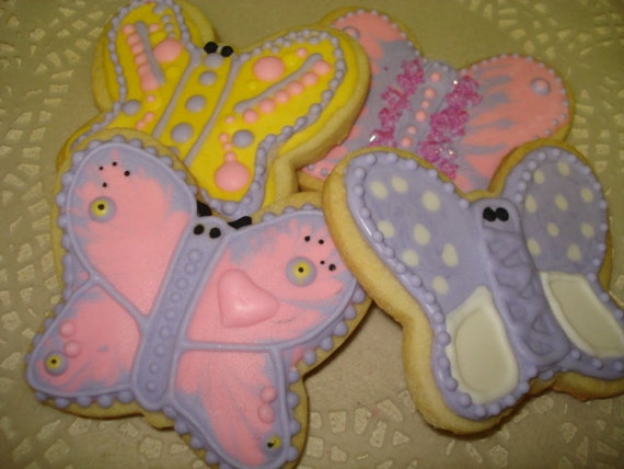 Garden Butterfly Assorted Vanilla Sugar Cookies- 1 Dozen