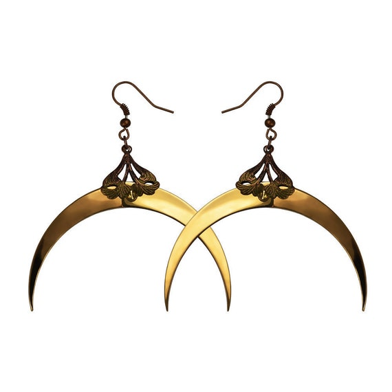 Gold Crescent Luna Earrings - Victoriana Gothic Jewelry - Free Shipping - Antiqued Copper Filigrees and Industrial Brass Screws