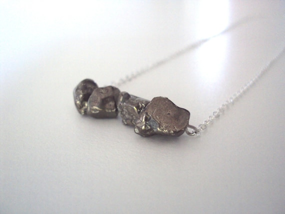 "Sale Raw Cut Pyrite On 16"" Silver Plated Necklace Chain"